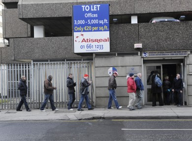 People queuing at a social welfare office in Dublin
