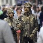 Good Weather in Dublin. Conchi Soriano from Spain dressed as Molly Malone and Krisztian Varga- Dudas from Hungary dresed as the Fisherman busking on Grafton street in Dublin. (Sasko Lazarov/Photocall Ireland)