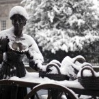 The Molly Malone statue in Dublin during heavy snowfall in the City centre in 2010. (Laura Hutton/Photocall Ireland)
