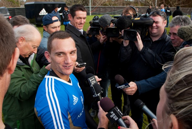 Aaron Cruden during a media session at the All Blacks rugby training session 19/6/2012
