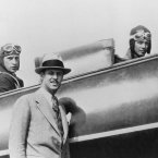 Record-setting pilot Charles Lindberg sits up front while the then-head of Langley's propeller research tunnel division Fred E Weick takes a back seat. (NASA Archives)