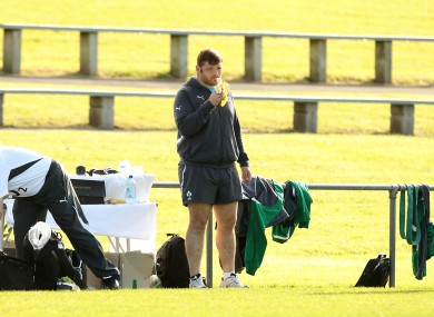 Mike Ross sits out training at the Onewa Domain, Auckland.