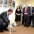 Pictured with Minister Shatter TD is 'Angel'. 