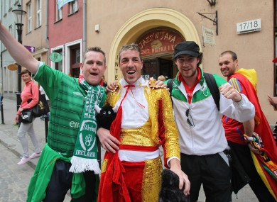 Ireland and Spain fans in Gdansk today.