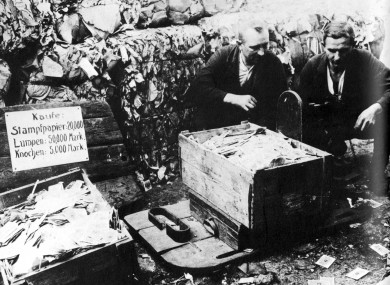 At the height of German hyper-inflation in 1923, paper currency was packed into boxes and sold as waste paper.
