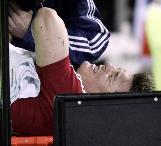 Brian O'Driscoll is stretchered off the field with a dislocated shoulder 25/6/2005