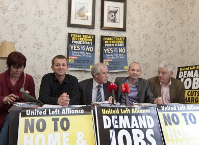 (L to R) Joan Collins, Richard Boyd Barrett, Seamus Healy, Paul Murphy and Joe Higgins at a recent ULA press conference.