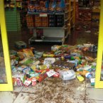 Damaged stock seen in a shop in Blackpool, Cork, after the flooding.