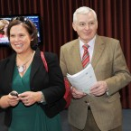 Sinn Fein Vice President Mary Lou McDonald and Socialist TD Joe Higgins surprisingly smiling as the result of the Fiscal Treaty referendum is announced at the result centre in Dublin Castle. (Laura Hutton/Photocall Ireland)