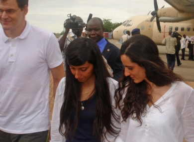 The free hostages after landing in the Burkina Faso capital,  Ouagadougou, yesterday