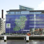 McCann FitzGerald's offices on Sir John Rogerson's quay with the gigantic poster for the Euroscience Open Forum Dublin 2012. Photo: Sasko Lazarov/Photocall Ireland