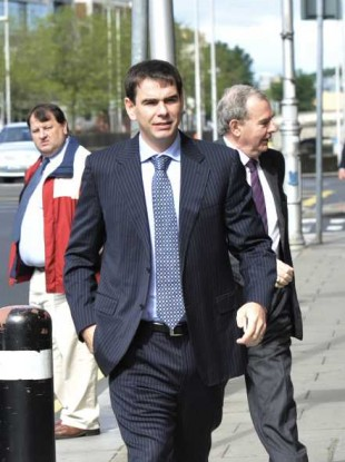 Sean Quinn Junior arriving at the High Court on Friday