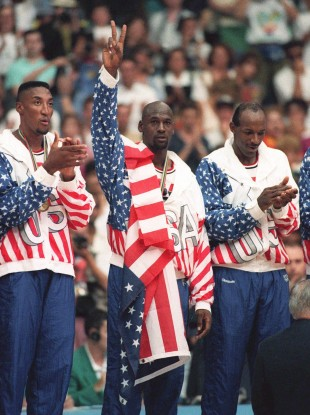 USA's Scottie Pippen, left, with Michael Jordan, centre, and Clyde Drexler.
