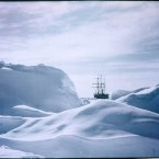 A glimpse of the doomed ship the Endurance, 1915, from the Antarctic ice. (Image: Frank Hurley)