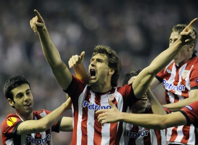 Fernando Llorente celebrates his Europa League goal against Manchester United last season.