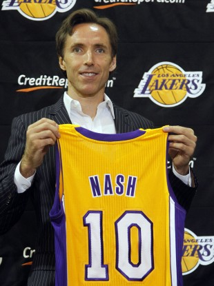Steve Nash will don the number 10 jersey for the L.A Lakers next season.