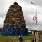 The massive bonfire on the Shankill Estate (AP Photo/Peter Morrison)