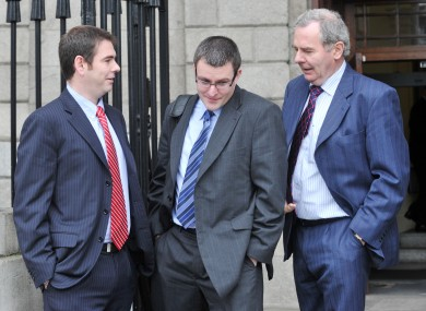 Sean Quinn jnr, Peter Quinn and Sean Quinn snr (L to R) outside the High Court
