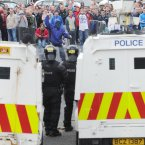 Police and nationalists face off in the Ardoyne area of Belfast (Photo: Laura Hutton/Photocall Ireland)