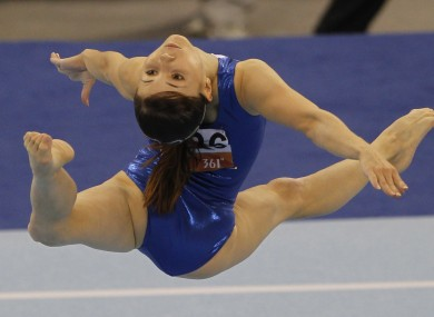 Uzbekistan's Galiulina Luiza performs during the women's floor excercise gymnastics at the 2010 Asian Games in China.