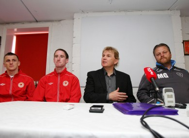 Saints players Anto Flood, Ian Bermingham, manager Buckley and IBV boss Magnus Gylfason.