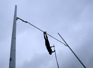 A pole-vaulter during Cork City Sports, yesterday.