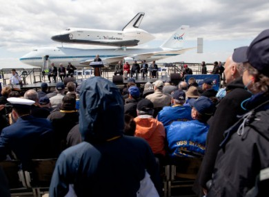 The shuttle Enterprise en route to its retirement location, New York city's Intrepid museum.