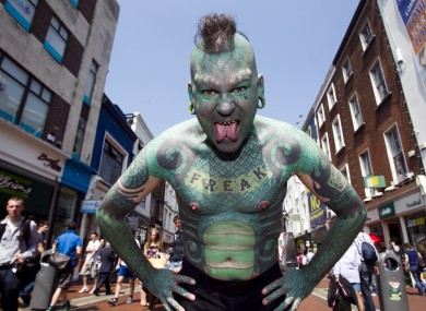 Iconic international performer The Lizardman, who performed at this year's Street Performance World Championship in Dublin