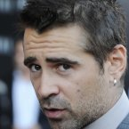 Colin Farrell chats to the media. 