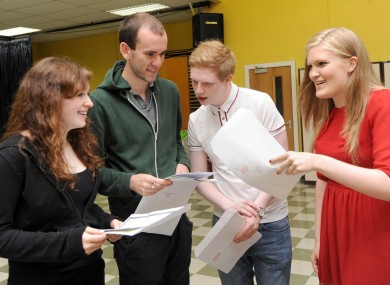 Cathy Dunne, Eoin Gleeson, Robert Downes and Lucy Murray compare their Leaving Cert results at Stratford College in Rathgar.