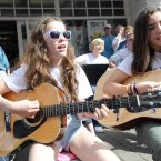 Lauren Cahill (left, 12) and Lauren Galvin (10) from Co Cavan busking for charity. (Photo: Laura Hutton/Photocall Ireland)