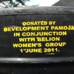 One of the water tanks donated by Pamoa Development with Belion Women's Group