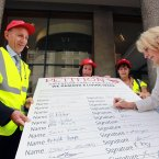 From left: Malcom Hancock, Jane Watson, Heather Moulden and Unite's Jennie Formby signing a petition which was handed into Greencore and the department by the workers. (Photo: Sam Boal/Photocall Ireland)