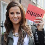 Model Vogue Williams spoke at the march