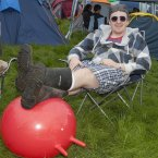 Simon Downey gets comfortable at the Stradbally-based music event. (Photo: Tony Kinlan)
