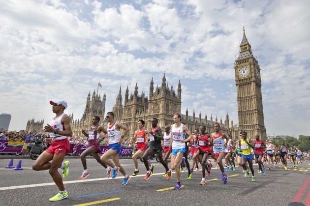 A general view of the Men's Marathon as it passes Big Ben 12/8/2012