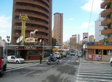 File photo of the 'English zone' of Benidorm