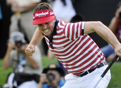 Keegan Bradley celebrates his tournament winning putt on 18.