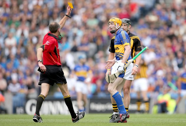 Cathal McAllister yellow cards Lar Corbett and Jackie Tyrrell 19/8/2012