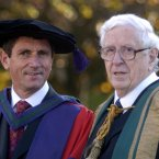 With former Taoiseach Garret FitzGerald receiving their Honorary Degrees from UCD as part of the UCD 150th Anniversary in 2004.