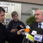 Taoiseach and Fianna Fail leader Bertie Ahern talking to Bird, Mark Costigan and the media in Dublin about Fianna Fail Deputies GV Wright and Michael Collins in 2003.