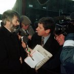 Charlie Bird speaking to Pronsias De Rossa in 1996 at the height of an IRA bombing campaign.