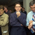 Charlie Bird with Gene Kerrigan and George Lee as they wait for the High Court report into the matter of National Irish Bank at the Gresham Hotel in 2004.