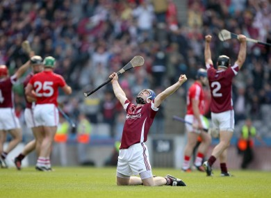 Galway's Damien Hayes celebrates at the final whistle.