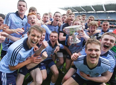 Dublin players celebrate with the trophy after their Leinster final success.