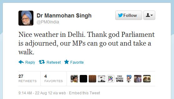 Fake Twitter page for manmohan singh