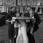 Prince Rainier and Princess Grace of Monaco show their children, Princess Caroline and Prince Albert, a sundial in the grounds of Carton House, Co. Kildare, the Irish home of  Lord Brocket, during a holiday in Ireland. (Photocall Ireland)
