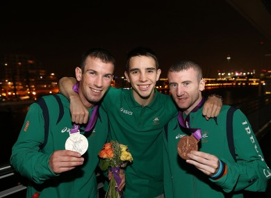 John Joe Nevin, Michael Conlon and Paddy Barnes at the Excel Arena in London
