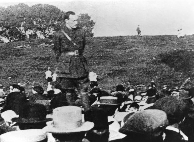 Pádraig Pearse in an Irish Volunteer officer uniform addressing a recruitment meeting in July 1915.