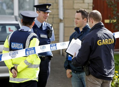 Gardai at the scene outside the house in the College Manor estate, Dundalk, Co.Louth